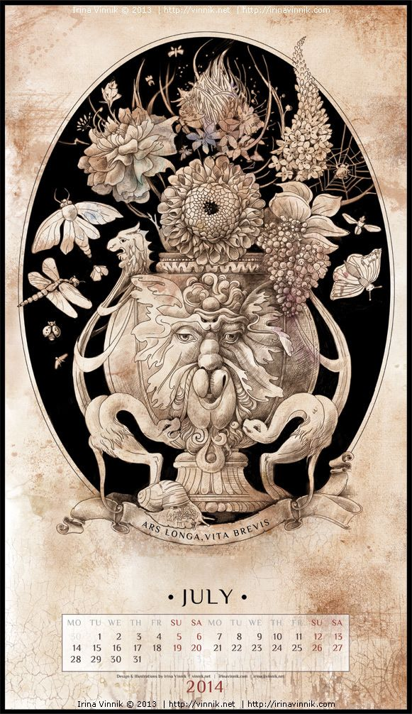 Bestiarium (Calendar 2014) by Irina Vinnik, via Behance