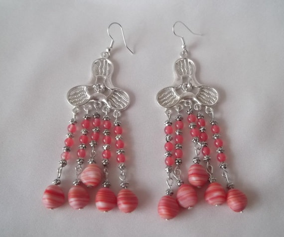 Earrings with Red and Pink glass beads and by razamatazjewellery, £3.99Red And Pink, Glasses Beads, Pink Glasses