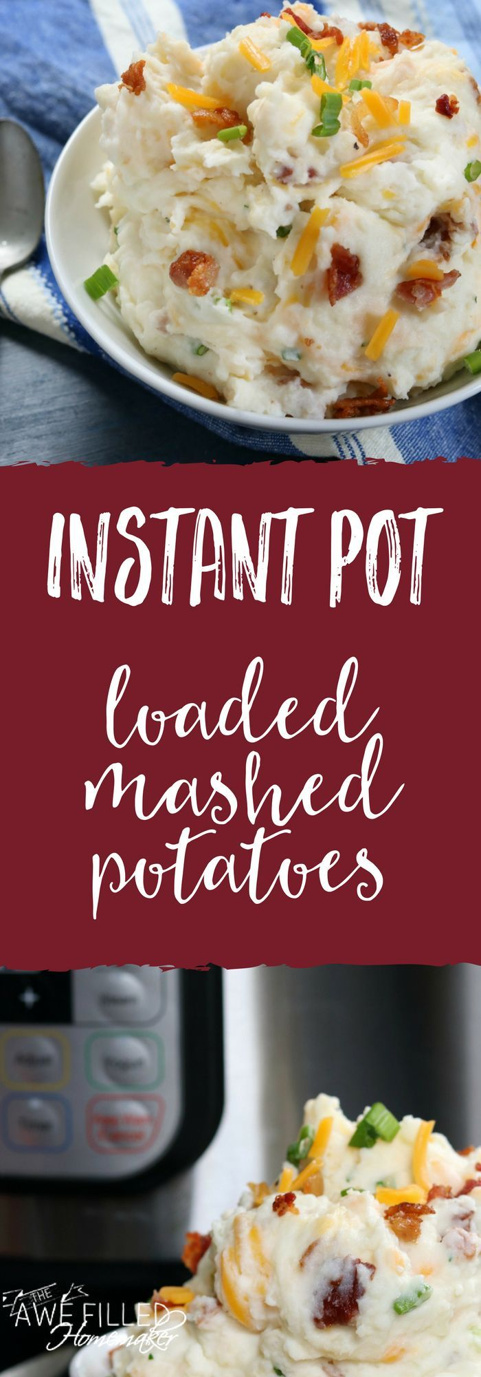 Shut the front door and butter my biscuit! A traditional southern comfort food just got even better with this instant pot loaded mashed potato recipe! YUM! #instantpot #mashedpotatoes #loadedmashedpotatoes #southernfood #instantpotmashedpotatoes  via @AFHomemaker