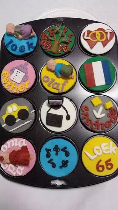 65 jaar verjaardagscupcakes