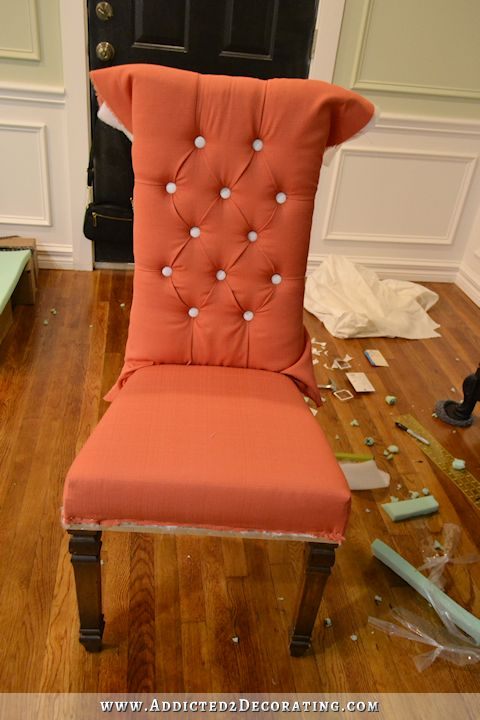 Dining Chair Makeover – From Cane Back To Tufted & Skirted (Part 1)