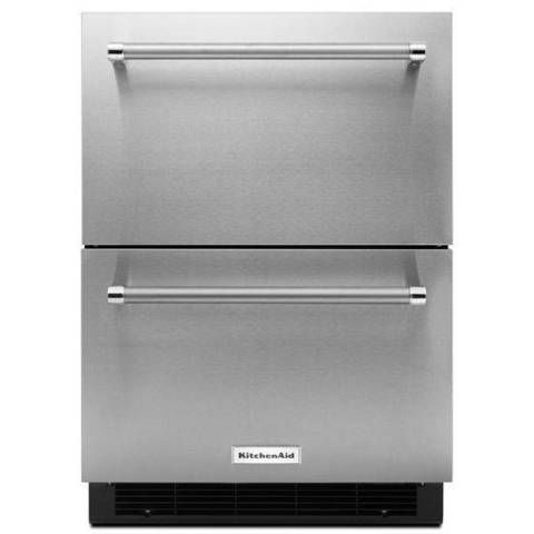 Shop Kitchenaid 23 75 In Built In Double Drawer Refrigerator Stainless Steel At Lo Freezerless Refrigerator Refrigerator Drawers Stainless Steel Refrigerator