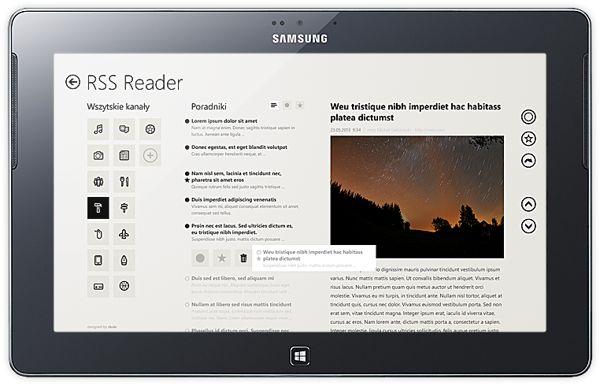 RSS Reeder, Windows 8 UI mobile application by Michal Galubinski, via Behance