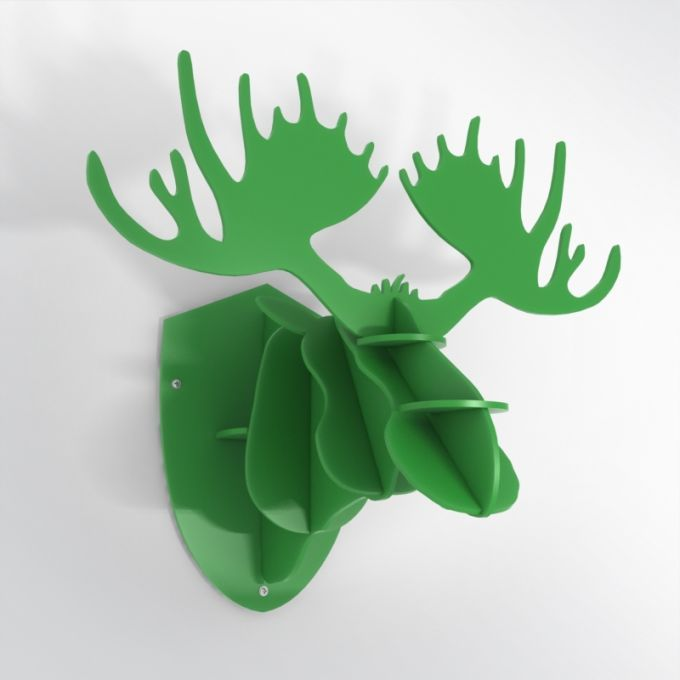 PVC Hunting Trophy - Green Moose Antlers. Made from PVC foam, cnc cutted. Also available in baltic birch plywood. Designed and made in Québec, by dezz.xyz.