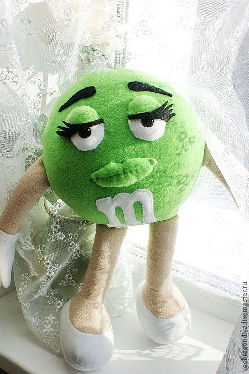 Купить Зеленый m&m's, mmdms - конфеты, зелёный, игрушка, подушка, реклама, персонаж, мультяшка, флис