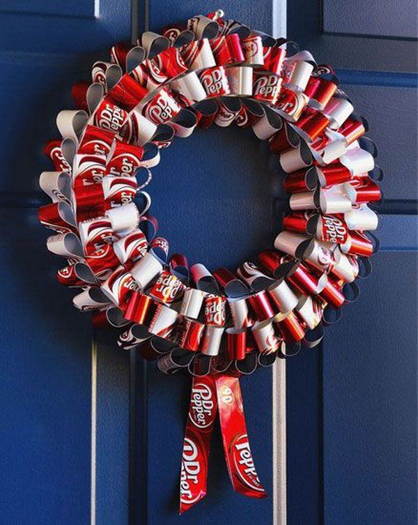 Soda can wreath after drinking soda from aluminum cans for Aluminum can decorations
