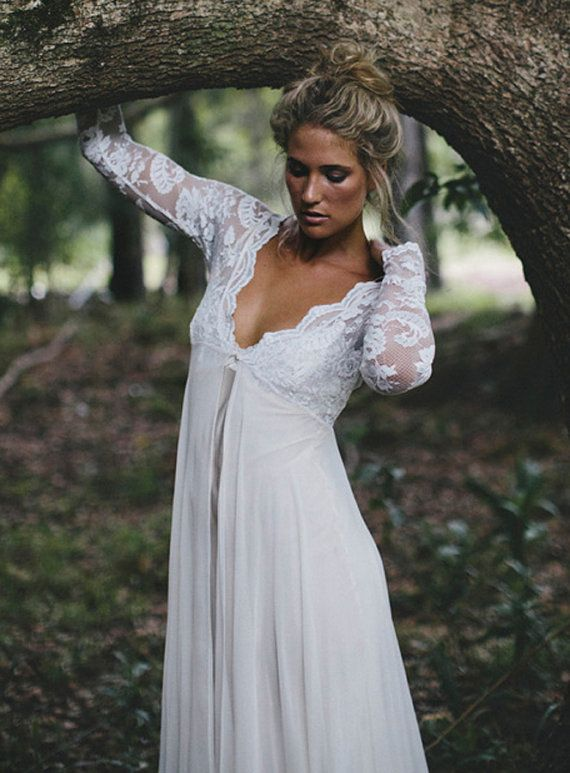 Long sleeve lace wedding dress with stunning silk slip for White silk slip wedding dress