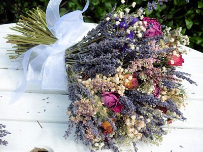 Bouquet of dried flowers, including lavender, rosebuds, gypsophila etc - I would probably use different colours