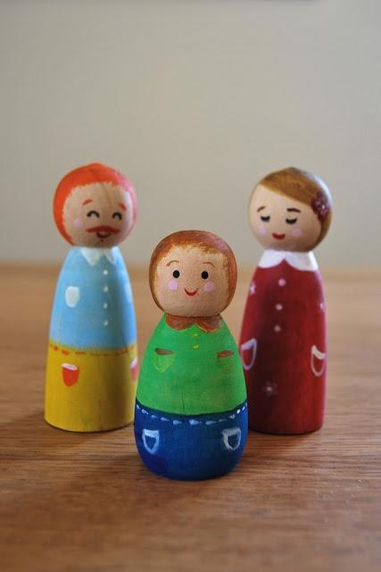 Nella mia soffitta...: Ritratto di famiglia - Family wooden dolls