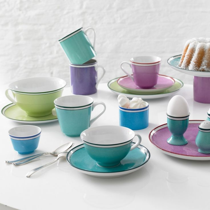 """Reichenbach - """"Colour Sylt"""" expands the collection """"Colour"""". The colours are painted by hand with a sponge, which makes every piece unique. Gerd Sommerlade draw his inspiration from the time about 1800. Shop now https://boulesse.com/en/product/853/Reichenbach/Colour-Sylt-Tea-cup"""