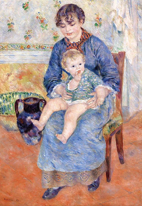 Pierre-Auguste Renoir, French, 1841-1919. Young Mother.jpg Молодая мать. Фонд Барнса.
