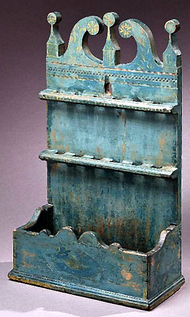 Carved Spoon Rack with its Original Painted Decoration, New England, Circa 1750-1800.