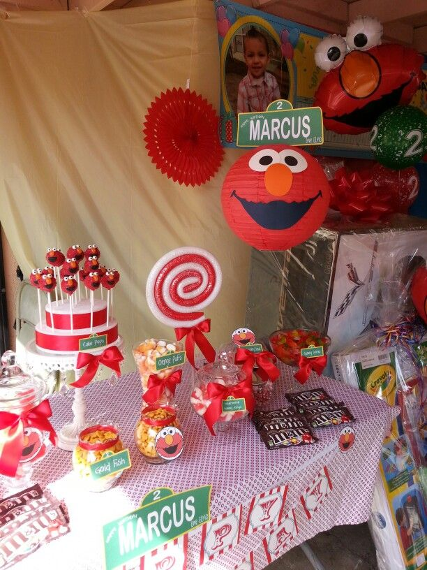custom made elmo themed candy vixen candy buffet candy tablecandy buffetelmo birthdaybirthday ideaselmo partycandylandsesame