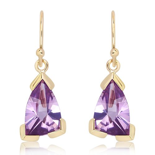 9 Ct Gold Earrings with Laser Cut Amethyst, exclusive to Ixtlan Melbourne Jewellery Store