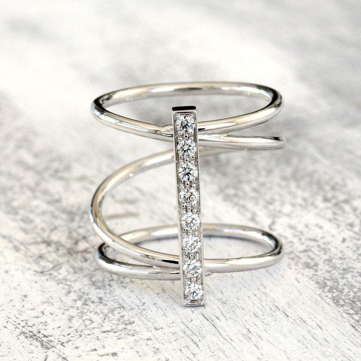 Anello a spirale, oro 18 k e diamanti, anello oro bianco,  anello oro rosa, anello oro giallo, anello donna, regalo per fidanzata, r di CariniGioielli su Etsy