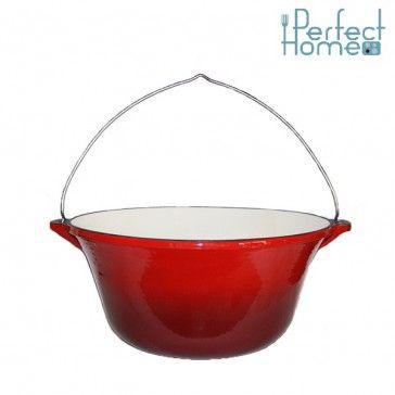 Zománcozott öntöttvas bogrács 10,8 literes piros