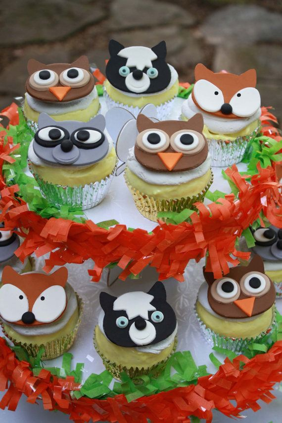 Fondant Woodland Animal Cupcake Toppers Forest Friends