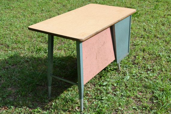 Vintage Mid Century School Desk Child Size Metal by PanchosPorch, $125.00