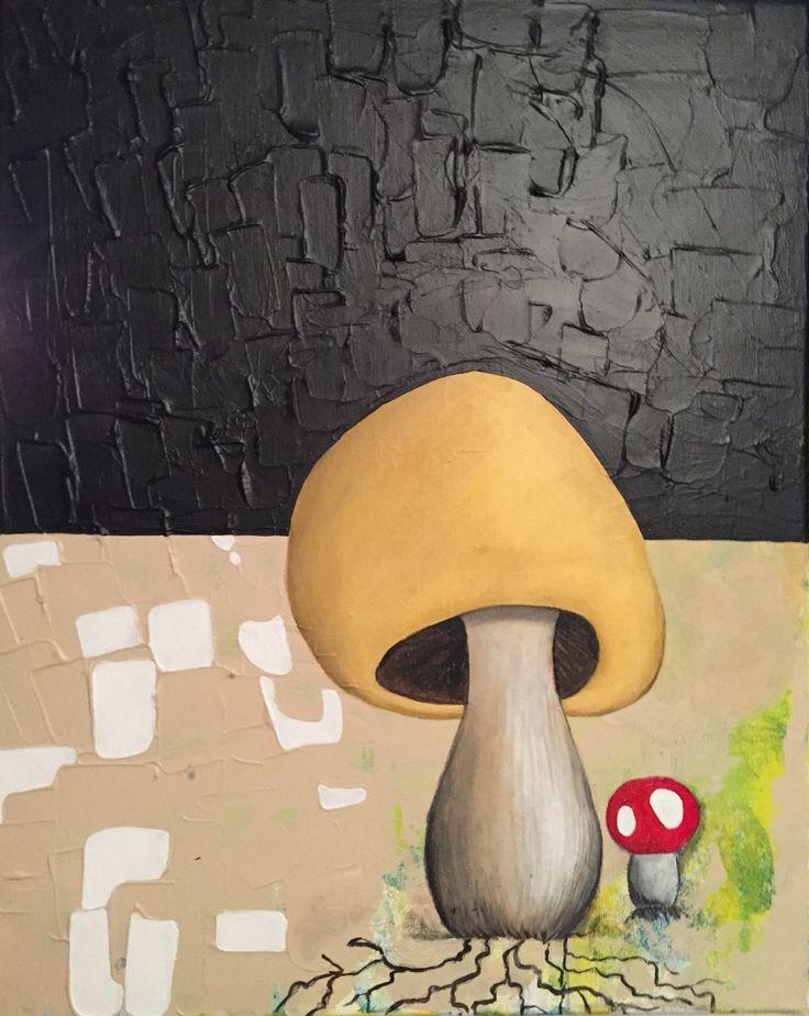 A little dangerous mushroom, acryl on canvas, 40x50 cm, artist: Lisbeth Sahl #sahlart