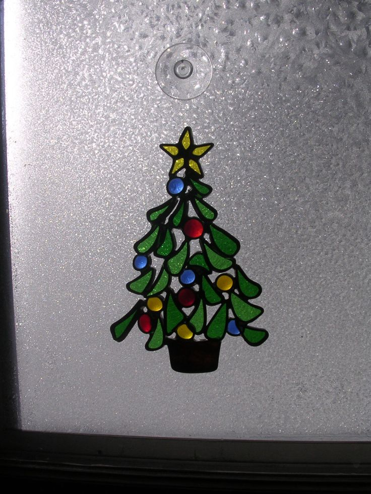 Stained glass christmas tree trees and