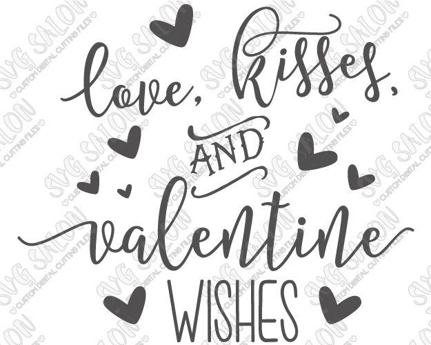 Love Kisses and Valentine Wishes Onesie Decal Cutting File in SVG EPS DXF JPEG and PNG