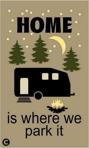 Primitive STENCIL. HOME IS WHERE WE PARK IT Rustic Camper Outdoor Camping RV •…