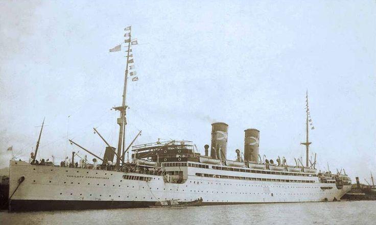 The passenger liner VASILEFS CONSTANTINOS built in 1914 for the National Steam Navigation Co. Ltd. of Greece. /  Το νεότευκτο επιβατηγό VASILEFS CONSTANTINOS που κατασκευάστηκε το 1914 για την Εθνική Ατμοπλοΐα της Ελλάδος.