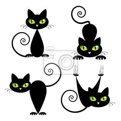 Adesivo gato preto com olhos verdes