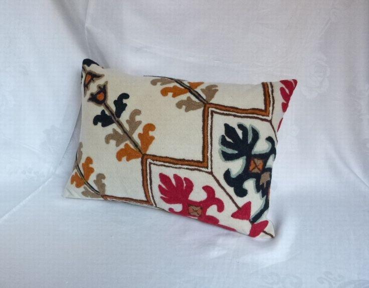"Decorative Crewel Work Pillow 18""x13"" ~ Vintage Fabric ~ Handmade Pillow by…"