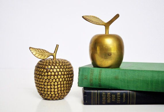 Studded Brass Apple Paperweight by thewhitepepper on Etsy