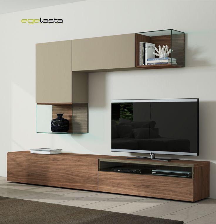 Egelasta · Mueble · Moderno · Madera · Mobiliario de hogar · Día · Comedor · Tv · Vitrinas · Nogal americano y laca arena