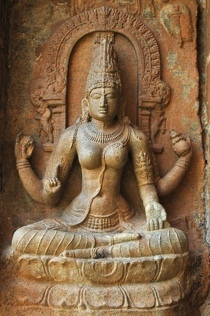 Hindu Goddess Saraswati as evidenced by the rosary in one hand and the kamandala flask in the other. Chola Period, India