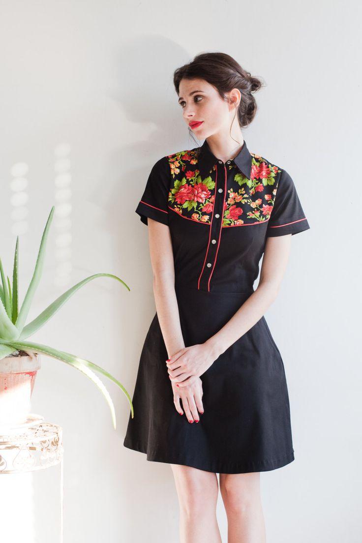 BLACK ROSE DRESS Black dress with flower yoke by KillingCouture