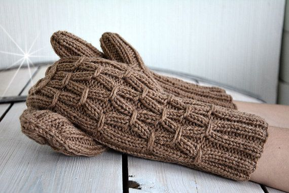 Knit brown wool gloves. Long knit gloves. Wool mittens. Womens gift. Gift for her.