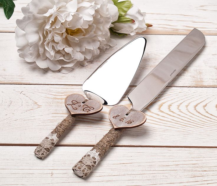 Wedding Cake Serving Set Cutting Set Rustic Knife Set Rustic Wedding Wood Hearts Personalized Rustic Wedding Cake Server Set Outdoor wedding by InesesWeddingGallery on Etsy
