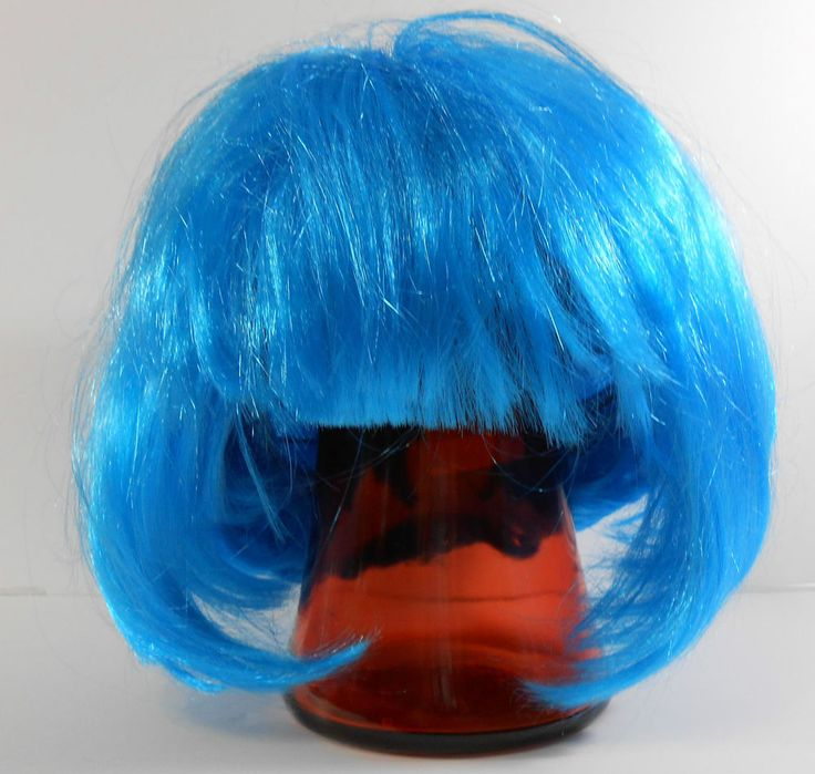 Blue Wig Cosplay Halloween Short Bob Bangs Bright New Without Tags  #Wig