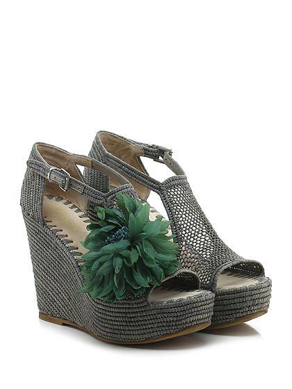 ELENA IACHI - Zeppe - Donna - Zeppa in rafia con cinturino alla caviglia e suola in gomma. Tacco 120, platform 40 con battuta 80. - GRIGIO - € 365.00