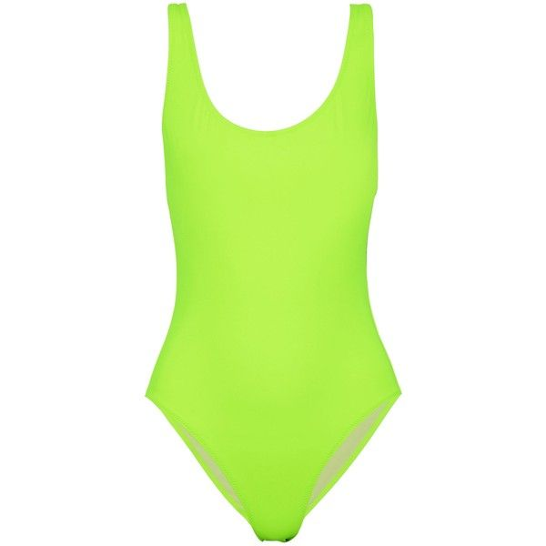 bc9e1574e8db Solid & Striped Open-back neon swimsuit ($98) ❤ liked on Polyvore featuring
