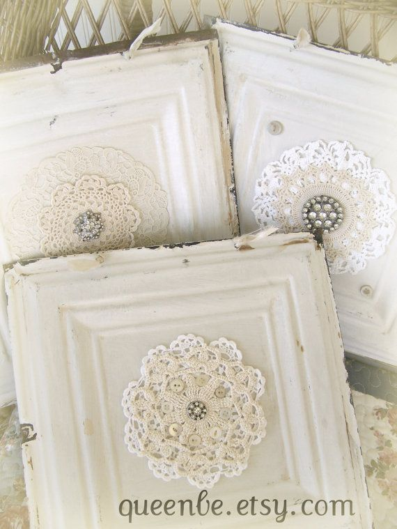 Victorian Ceiling Tin Hanging Repurposed Ceiling Tin Magnet Board Vintage Lace Antique Decor Architectural Salvage Shabby White Decor on Etsy, $38.00