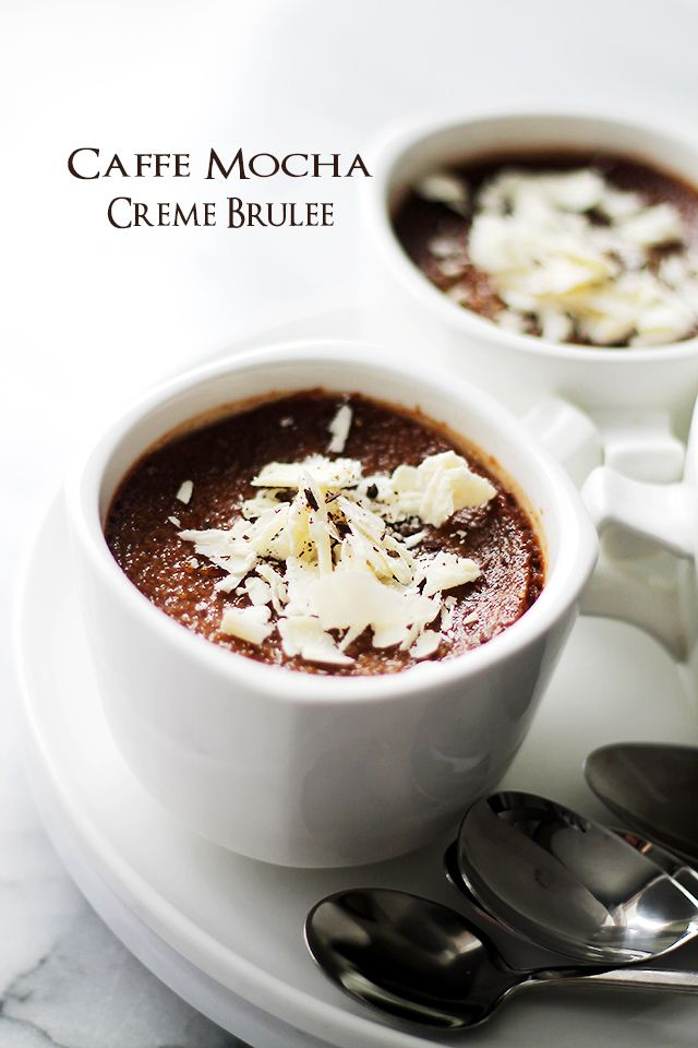 Caffe Mocha Creme Brulee | www.diethood.com | Delicious and decadent chocolate custard with notes of espresso and a crispy sugar crust.