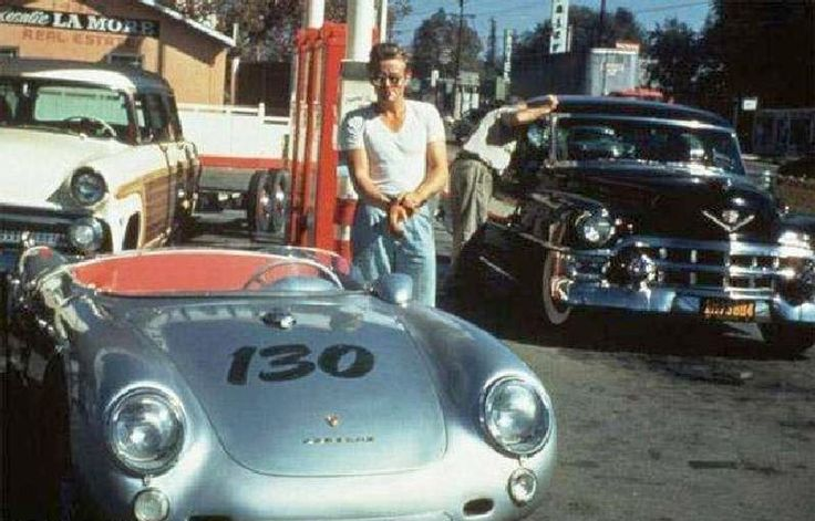 1955-09-30 James Dean poses beside the car that he would later die in the same day.