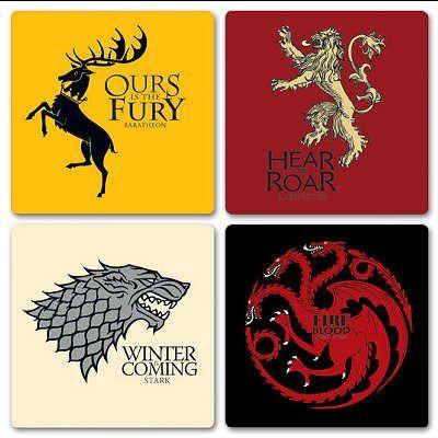 (4x4) Game Of Thrones - House Coaster Set @ niftywarehouse.com