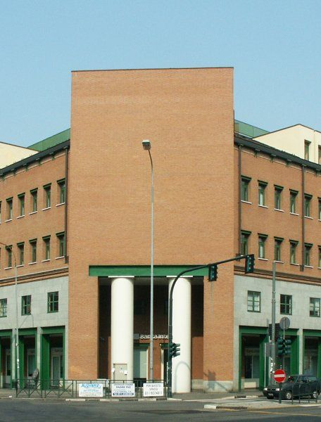 Aldo Rossi's building uses modern component, steel lintel and classical component Greek column to show his vision for the site.