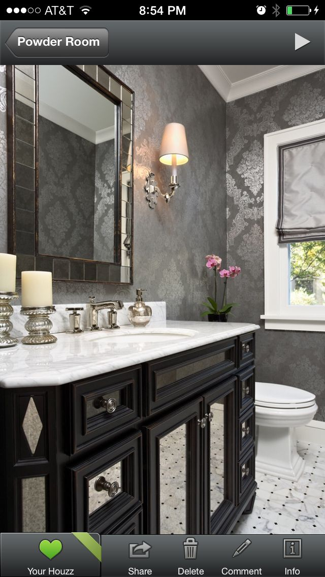 Powder Room Wallpaper Shiny Silver Gray Black White Crown Molding White Marble Vanity