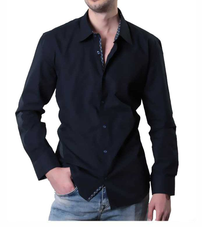 a91a12107 Navy Blue Slim Fit Dress Shirt