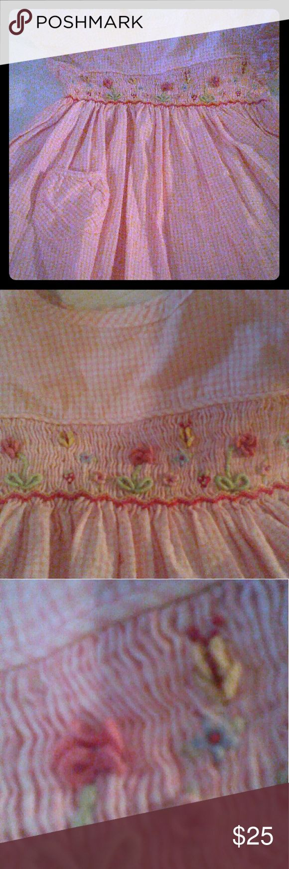 Infants Dress 6/9months by Marks&Spencer Pink check 100%cotton smocked, embroidery dress~precious fits into 1yr, Great fabric and workmanship washed never worn Mark & Spencer Dresses Casual