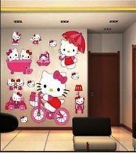 Lovely LARGE HELLO KITTY WALL STICKERS FOR KIDS/ CHILDREN BEDROOM, WALL ARTS DECALS Images