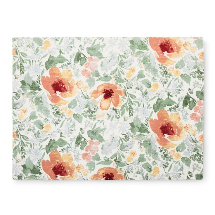 Artistic florals are a great addition to your décor with the Red Kitchen Textile Placemat Mineral from Threshold. This cloth floral placemat will give your home a traditional, old-world feel.