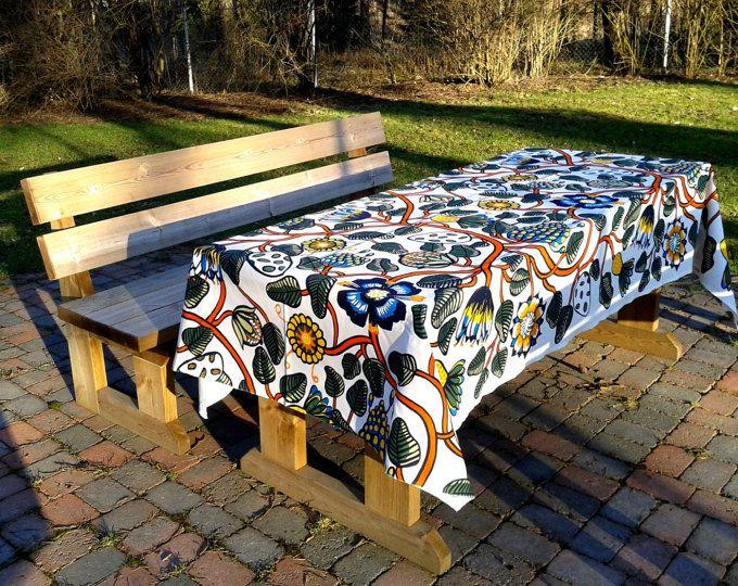 Modern tablecloth made from Marimekko fabric Tiara, Scandinavian design, floral colorful long rectangle designer cotton table cloth