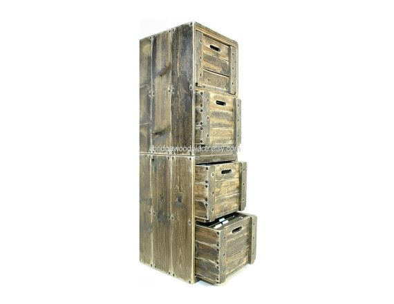 Filing Cabinet 4 Drawer Solid Wood Office File Cabinet 6 Crate Stackable Set Wood Crate Furniture via Etsy